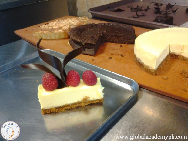 Day 6 (Plated Desserts) Cheesecake with Raspberry Coullis and Frangipane Tart with Chocolate Sauce (2)_new